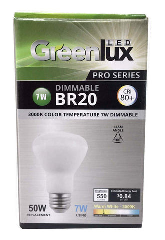 GreenLux Pro-Series LED light bulb, BR20, 7W, 120V, 100DEG Warm White, EA
