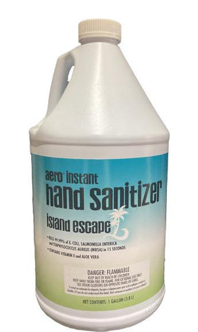 Instant Hand Sanitizer, Aero, Island Escape, 62% Alcohol with Vitamin E & Aloe Vera, One Gallon