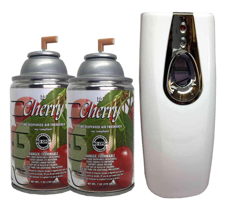 Automatic Spray Air Freshener Kit (2) Refills with (1) Dispenser - Aero - Cherry