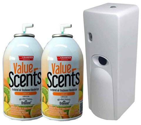 Automatic Spray Air Freshener Kit (2) Refills with (1) Dispenser - Value Scents - Citrus