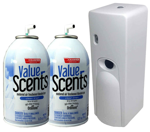 Automatic Spray Air Freshener Kit (2) Refills with (1) Dispenser - Value Scents - Clean Linen