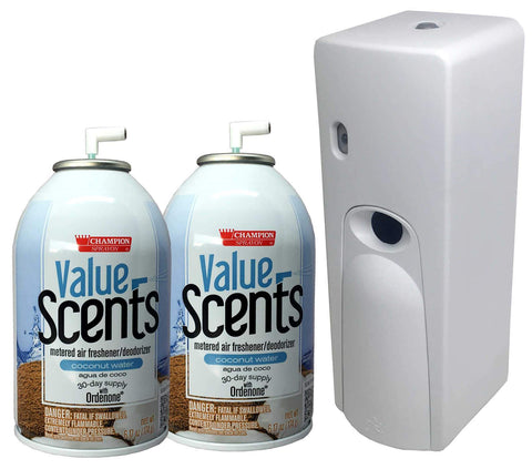 Automatic Spray Air Freshener Kit (2) Refills with (1) Dispenser - Value Scents - Coconut Water