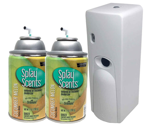 Automatic Spray Air Freshener Kit (2) Refills with (1) Dispenser - Spray Scents - Cucumber Melon