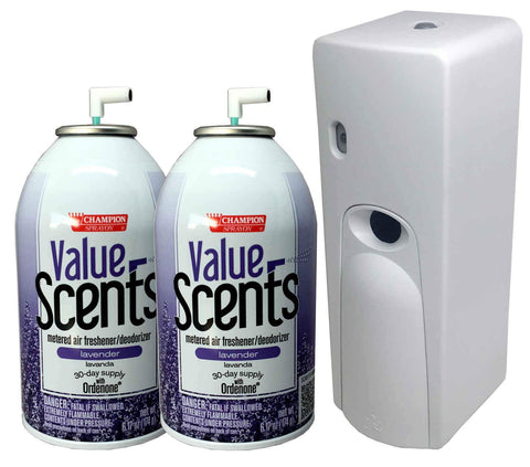 Automatic Spray Air Freshener Kit (2) Refills with (1) Dispenser - Value Scents - Lavender