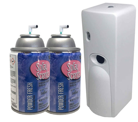 Automatic Spray Air Freshener Kit (2) Refills with (1) Dispenser - Spray Scents - Powder Fresh