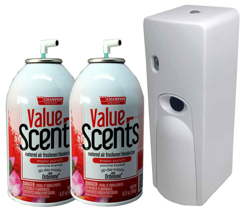 Automatic Spray Air Freshener Kit (2) Refills with (1) Dispenser - Value Scents - Tropic Punch