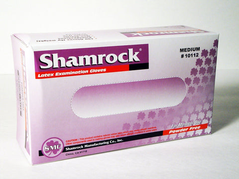 Latex Examination Gloves Powder Free Medium Shamrock 10112BX, Box of 100