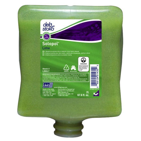 Solopol Lime Med/Heavy Industrial Hand Wash 2 Liter Refill - LIM2LT, Pack of 4