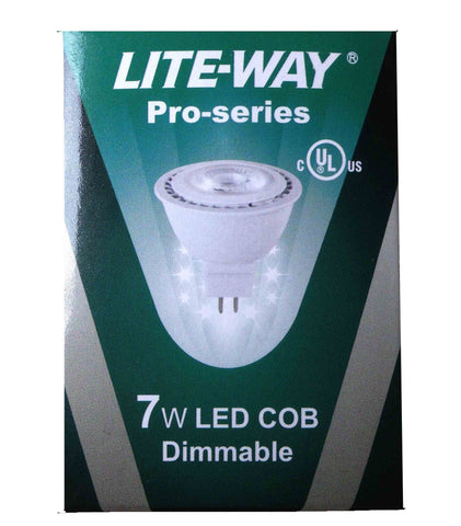 Lite-Way Pro-Series, LED Light Bulb, MR16, 7W, Warm White, 12V, GU5.3 Base, EA