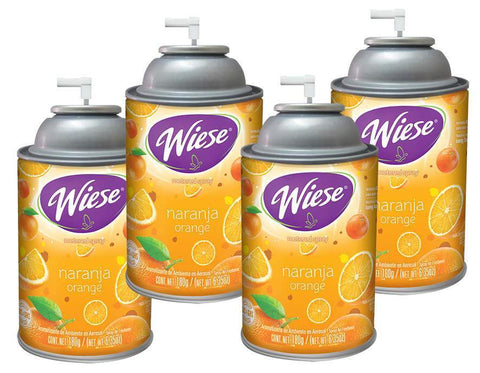Automatic Spray Air Freshener Refill, Orange, 7 oz. Can, Wiese, Box of 4