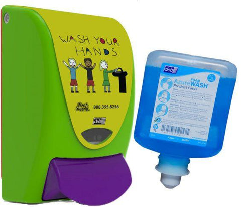 Wall Mounted Commercial Foaming Soap Kids' Wash your Hands Dispenser + Azure Foam Soap Refill Combo - DEB-9506-AZU1L