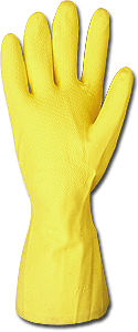 Latex Flock Lined Yellow Gloves, 18 mil, Large, 12/cs - HYG-HL-100-LG