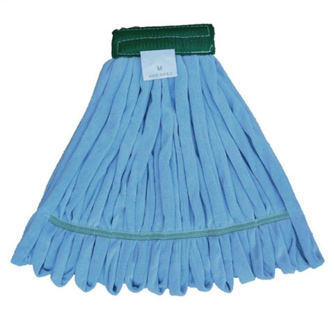 Microfiber Wet Mop Blue, Looped, Wide Band, Medium,EA