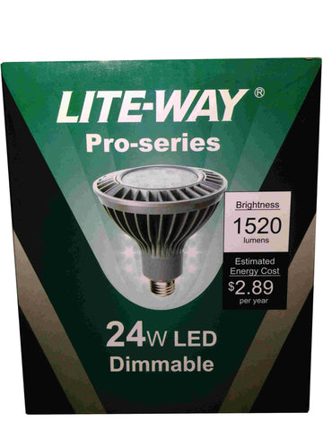 Lite-Way Pro-Series, LED Light Bulb, PAR 38, 24W, 120-Watts Equivalent, Day Light, 120V, EA