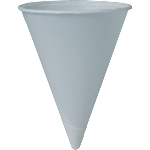 Paper Cone Cups, White 4.5 oz, Rolled Rim 5000/case