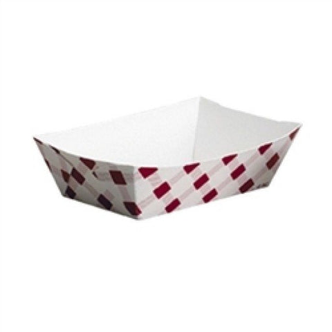 Paper Food Tray 8oz, Plaid, Red and White - Box of 1000