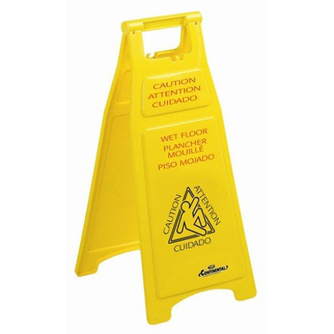 Wet Floor Sign, Folding Yellow, Plastic, EA