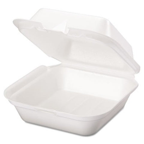 Foam Hinged Sandwich Container, 6 x 6, White Box of 500