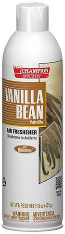 Vanilla Bean Air Freshener Spray, Water-Based, Champion Sprayon 15 oz Can, Box of 3