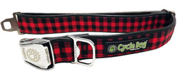Red Plaid Eco-Friendly Collar - Recycled Rubber, Metal Buckle, Bottle Opener