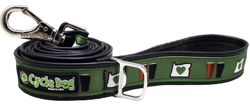 Oregon Brews Eco-Friendly Leash - 6 ft, Recycled Rubber, Metal Buckle, Bottle Opener
