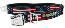 USA Uncle Sam Eco-Friendly Collar - Recycled Rubber, Metal Buckle, Bottle Opener