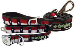 Don't Mess with Texas Collar and Leash Bundle - Recycled Rubber, Metal Buckle, Bottle Opener