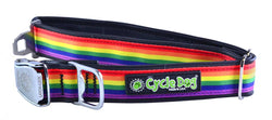 Rainbow Pride Eco-Friendly Collar - Recycled Rubber, Metal Buckle, Bottle Opener