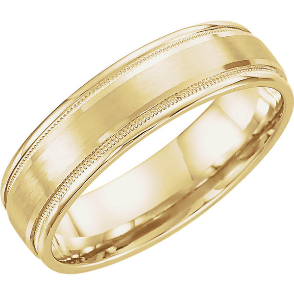 Flat Edge Satin Wedding Band