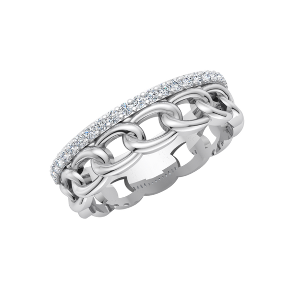 Oval Links Diamond Ring