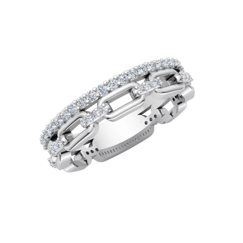 Rectangle Links Diamond Ring
