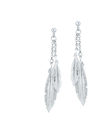 Silver Feather Dangle Earrings