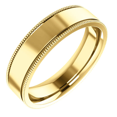 Flat Milgrain Wedding Band