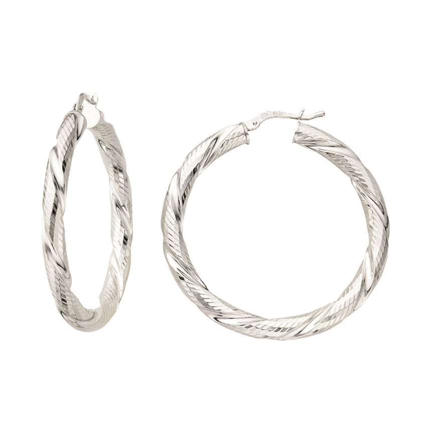 Twisted Round Hoop Earrings