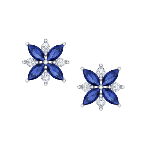 Flower Bomb Sapphire Earrings