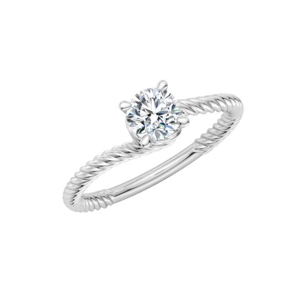 Spiraled Rope Solitaire Engagement Ring