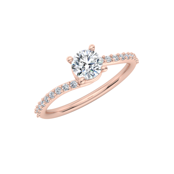Pave Spiral Engagement Ring