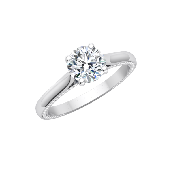 Beaded Solitaire Engagement Ring
