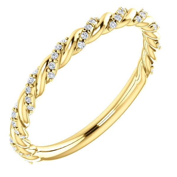 Pave Twisted Wedding Band