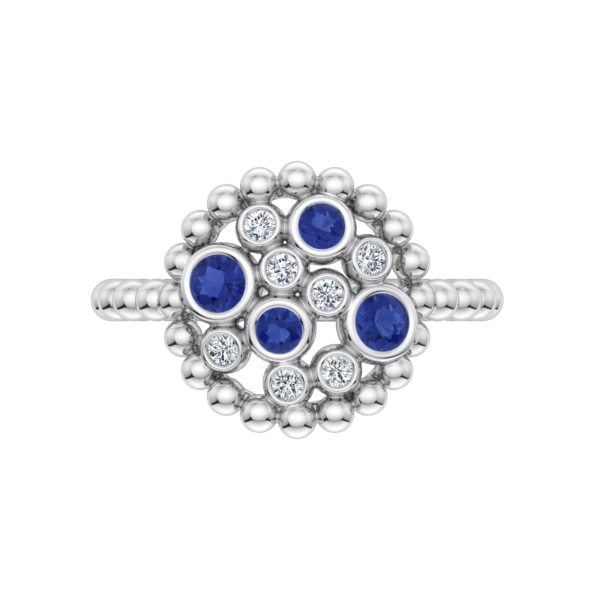 Sapphire and Diamond Bubble Ring