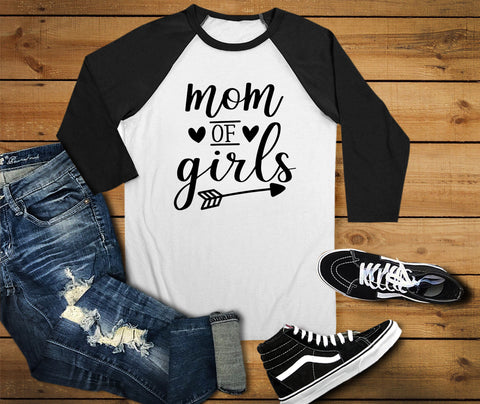 Mom Of Girls Raglan Shirt, Mom Shirt - Custom Lifestyle Designs