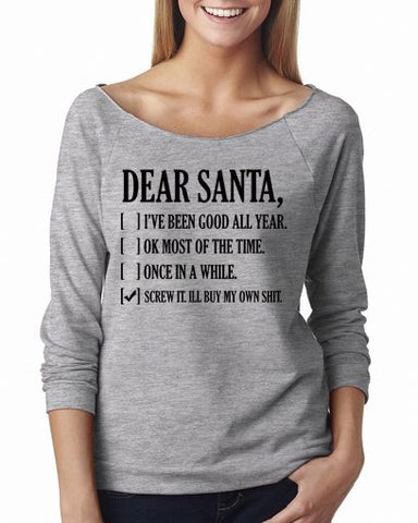 Dear Santa Shirt 3/4 Sleeve Shirts