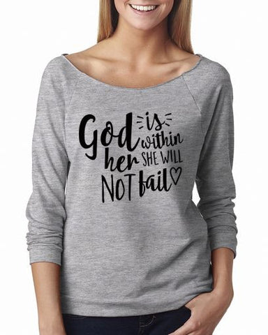 God Is Within Her She Will Not Fail Shirt 3/4 Sleeve Shirts
