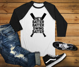 Hey Batter Batter Swing Batter Batter Raglan Shirt, Baseball Shirt - Custom Lifestyle Designs