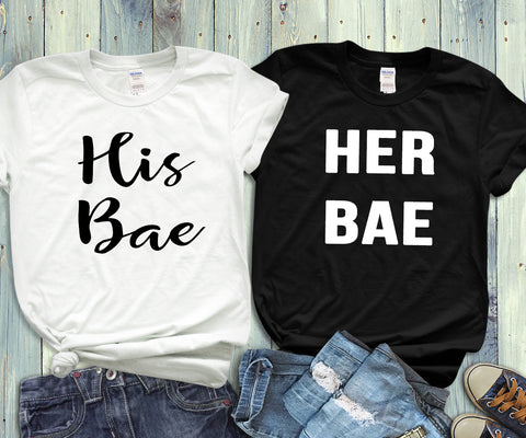 His Bae, Her Bae, Couples Shirts - Custom Lifestyle Designs