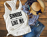 Sinners Like Me Tank Top Country Music Shirt - Custom Lifestyle Designs