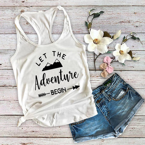 Let The Adventure Begin Tank Top, Women's Shirt - Custom Lifestyle Designs