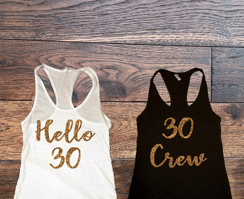 Hello 30 Crew Tank Tops Top