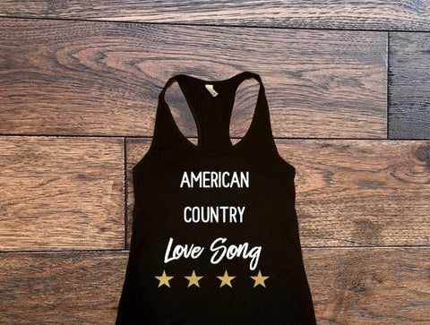 American Country Love Song Tank Top