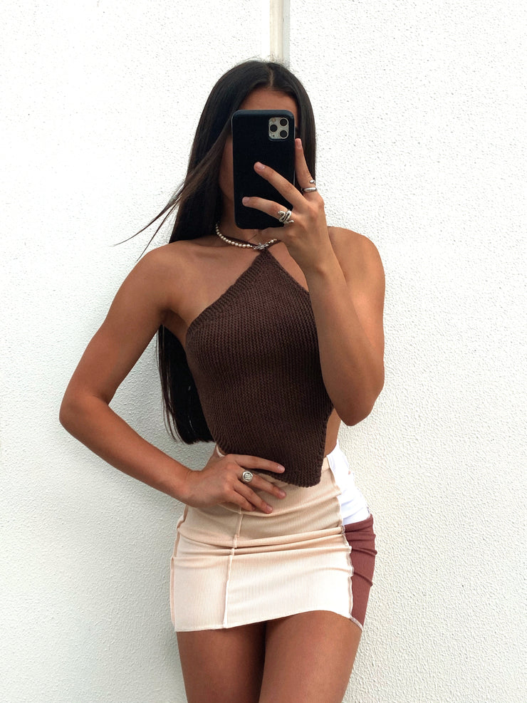 CHARLI KNIT CROP BROWN
